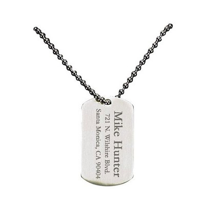 Engraved Nickel dog tag and chain