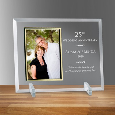 "Personalized 25th Wedding Anniversary 5"" x 7"" Glass Photo Frame"
