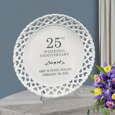 Lovely Personalized 25th Anniversary Round Porcelain Plate with Heart lace Rim