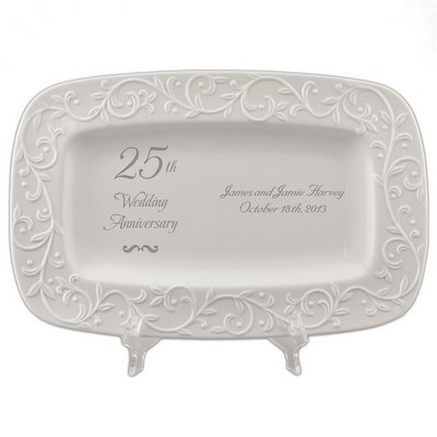 25th Wedding Anniversary Lenox Carved Tray