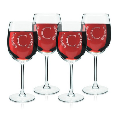 Monogrammed Initial Set of Four Wine Glasses