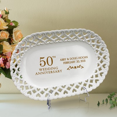 Stunning Personalized 50th Anniversary Oval Porcelain Plate with Heart lace Rim