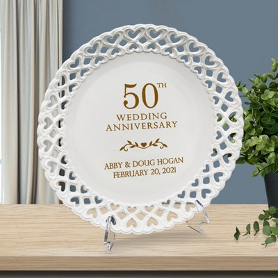 Impressive Personalized 50th Anniversary Round Porcelain Plate with Heart Lace Rim