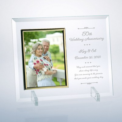 "Personalized 50th Wedding Anniversary Glass Vertical 8"" X 10"" Photo Frame"