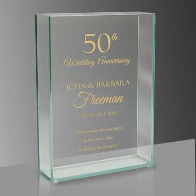 50th Wedding Anniversary Engraved Rectangular Glass Vase
