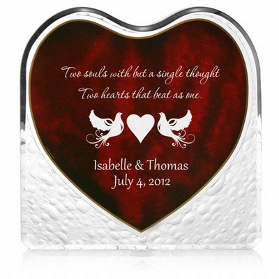Kissing Doves Acrylic Heart with Inlaid Rosewood Finish