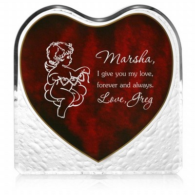 Angelic Heart Plaque with Inlaid Rosewood Finish