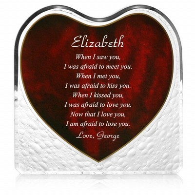 Romantic Poem Heart Shaped Red Acrylic Plaque