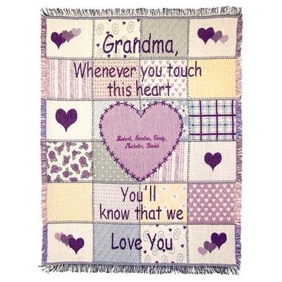 Grandmother Touching Heart Cotton Throw