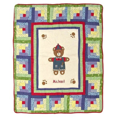 Boy Bear Personalized Baby Quilt