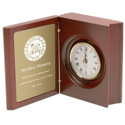 Achievement Book Clock with Brass Engraving Plate