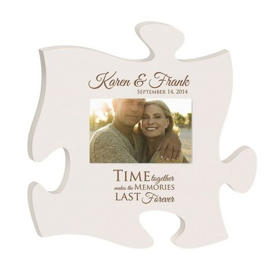 Anniversary Memories Personalized White Wooden Puzzle Piece 4x6 Picture Frame