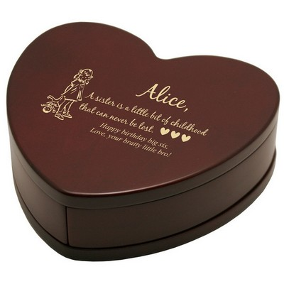 Solid Rosewood Sweetheart of a Sister Keepsake Box