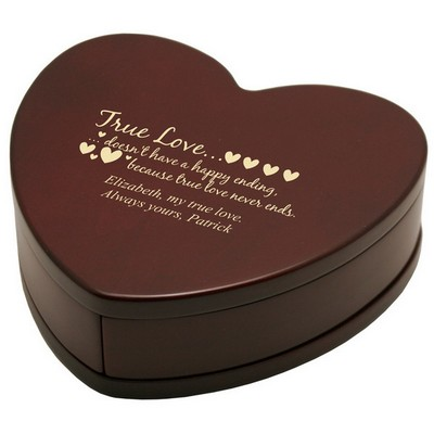 Personalized True Love Heart Shaped Gift Box in Solid Rosewood