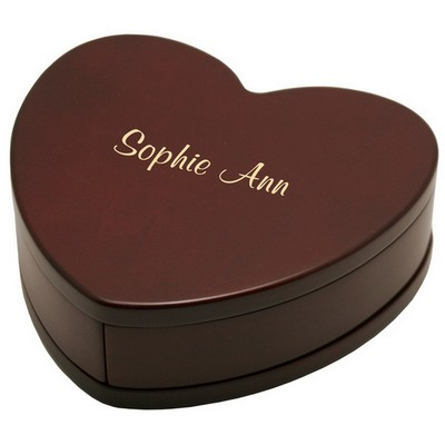 Personalized Rosewood Finish Heart Shaped Keepsake Box