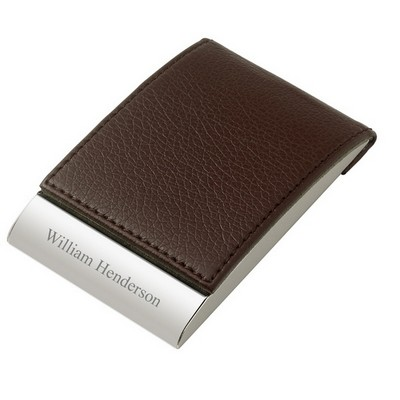 Brown Leatherette Business Card Holder - ON CLEARANCE WHILE SUPPLIES LASTS