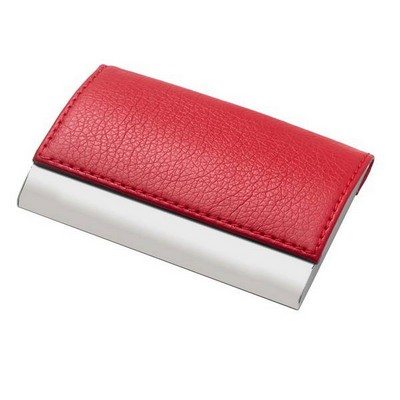 Red Leatherette Business Card Holder - ON CLEARANCE WHILE SUPPLIES LASTS