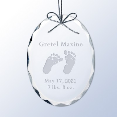Baby Feet Personalized Crystal Ornament