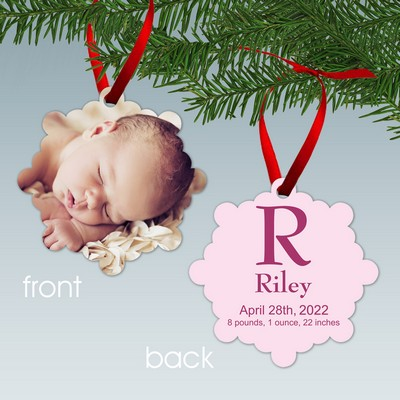 Baby Girl Birth Stats Personalized Aluminum Photo Ornament