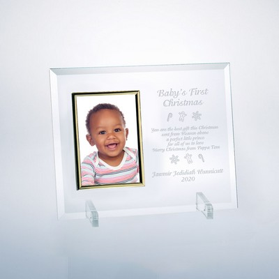 "Babys First Christmas Glass Vertical 4"" X 6"" Personalized Photo Frame"