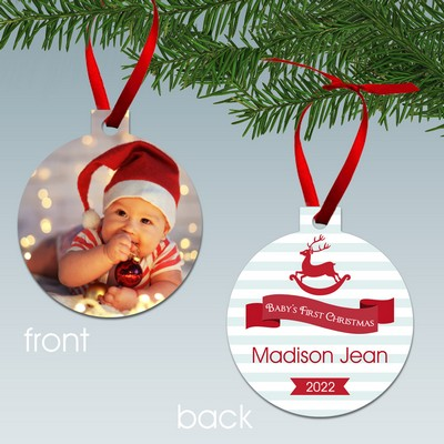 Babys First Christmas Personalized Aluminum Photo Ornament