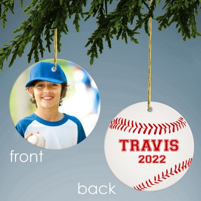 Baseball Design Personalized Ceramic Christmas Ornament
