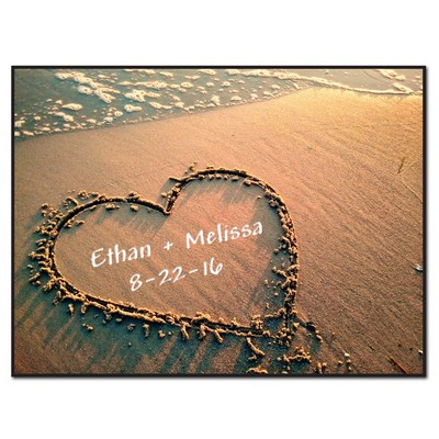 Beach Sand Personalized Heart Lithograph