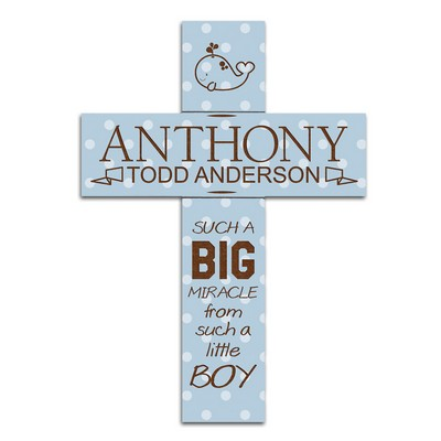Big Boy Blue Polka Dot Personalized Wall Cross