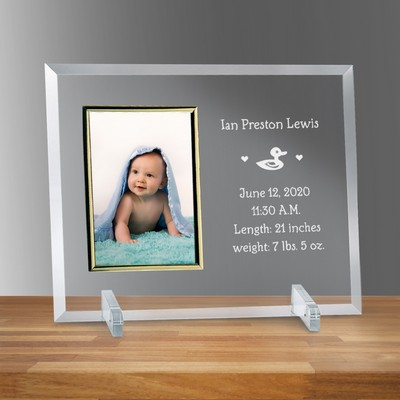 "Birth Announcement Glass Vertical 4"" X 6"" Personalized Photo frame"