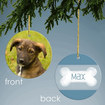 Blue Dog Bone Personalized Photo Ornament
