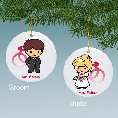 Bride or Groom Custom Character Personalized Ceramic Ornament