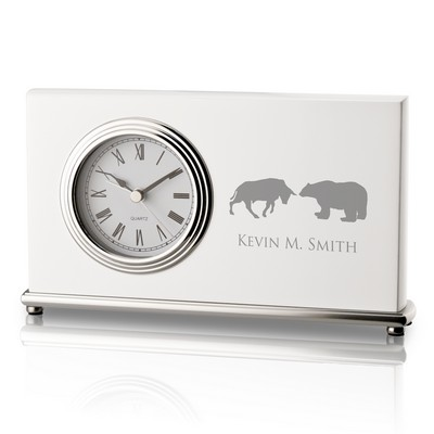 Bull and Bear Personalized White Piano Finish Desk Clock