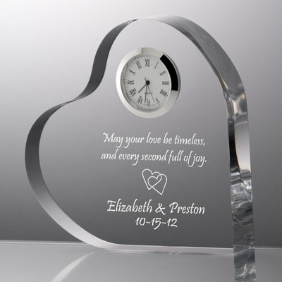 Heart with Inlaid Quartz Clock