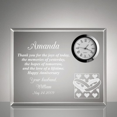 Hearts and Wedding Rings Anniversary Clock