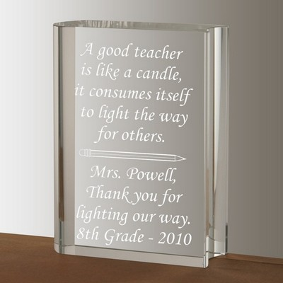 Crystal Book Keepsake for Teacher