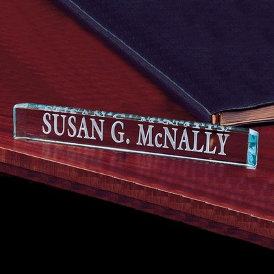 Jade Glass Desk Nameplate