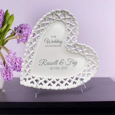 Elegant Personalized Wedding Anniversary Heart Porcelain Plate with Heart lace Rim