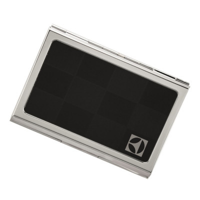 Checkered Logo Engraved Black Business Card Case