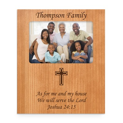 Cherry Wood Personalized 4x6 Religious Photo Frame