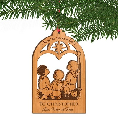 Christ the Savior is Born Personalized Wood Ornament
