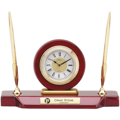 Corporate Logo Double Pen Stand with Clock