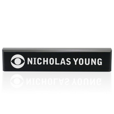 Corporate Logo Engraved Black Acrylic Desk Nameplate