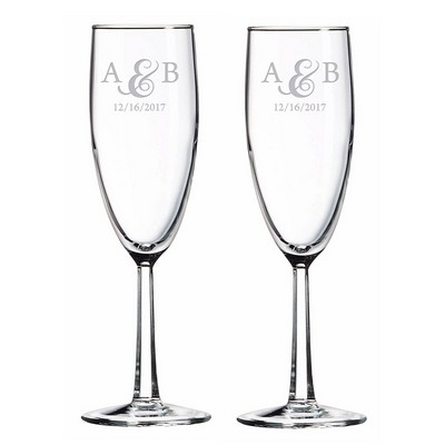 Couples Initialed Glass Toasting Flute Set