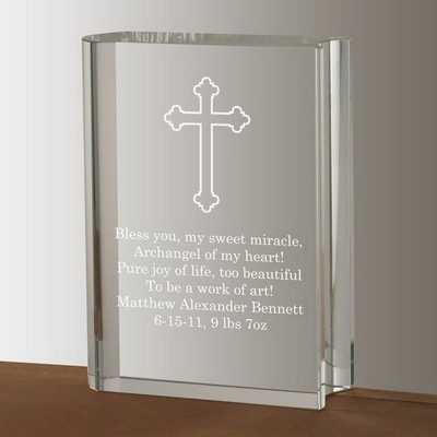 Crystal Book with Cross Keepsake