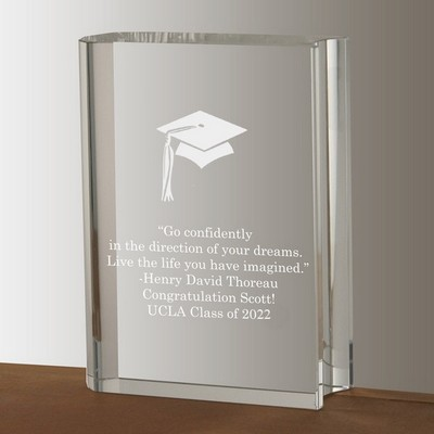 Crystal Book with Graduation Cap Keepsake
