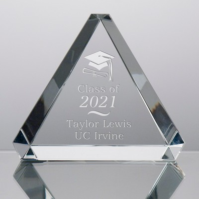 Crystal Triangle Paperweight for Grads