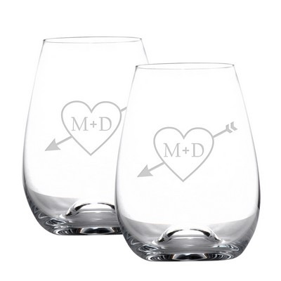 Cupids Arrow Stemless Wine Glass Set for Couples