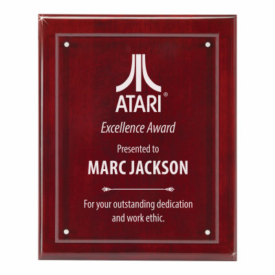 Custom Logo Rosewood and Glass Recognition Plaque