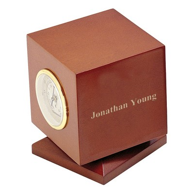 Personalized Rotating Cherry Wood Nautical Weather Station with Clock