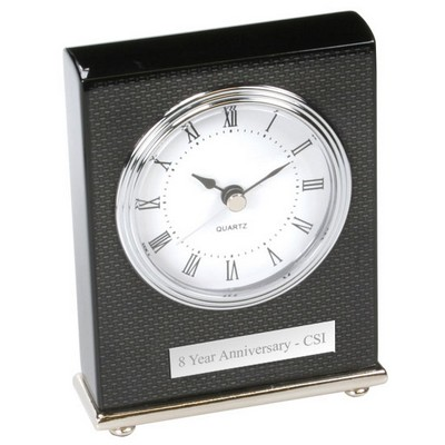 Modern Desktop Clock in Black Lacquer and Carbon Fiber Look